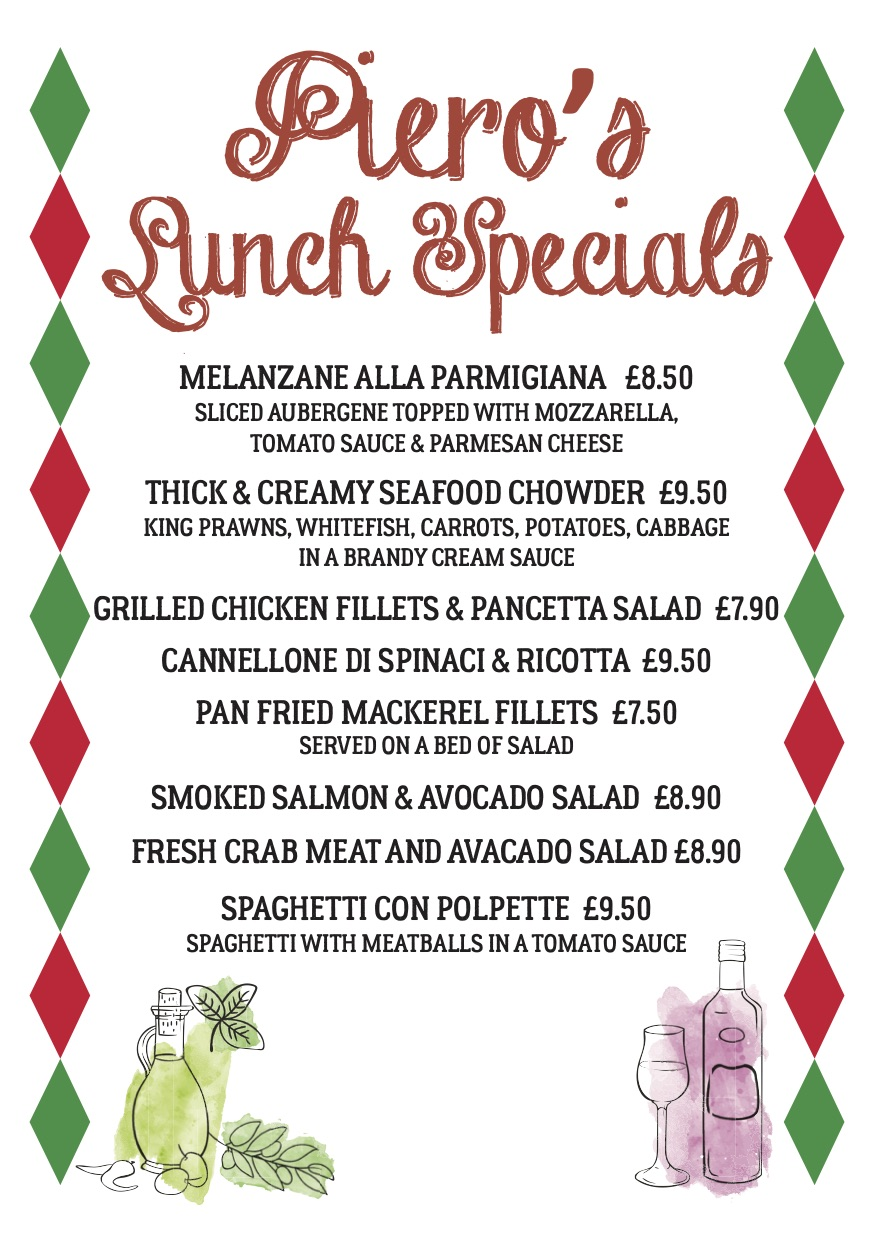 Specials Menu from Pieros Pizzeria in Truro